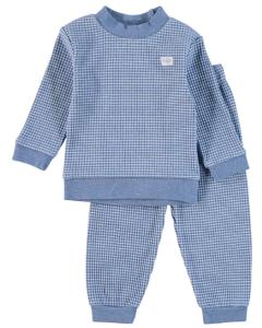 Pyjama lange mouw Feetje wafel blue melange