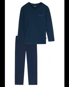 Pyjama v-hals Schiesser royal blue